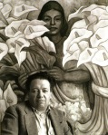 Manuel_lvarez_Bravo_Diego_Rivera_in_front_of_the_charcoal_and_watercolour_drawing_The_Calla_Lily_Seller_1938_1945.
